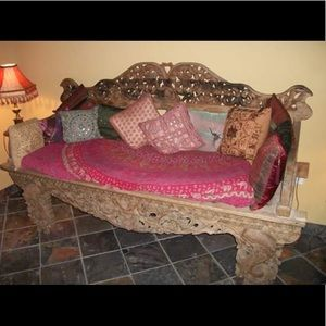 Teak Reclaimed Wood Floral Carved Daybed Indonesia